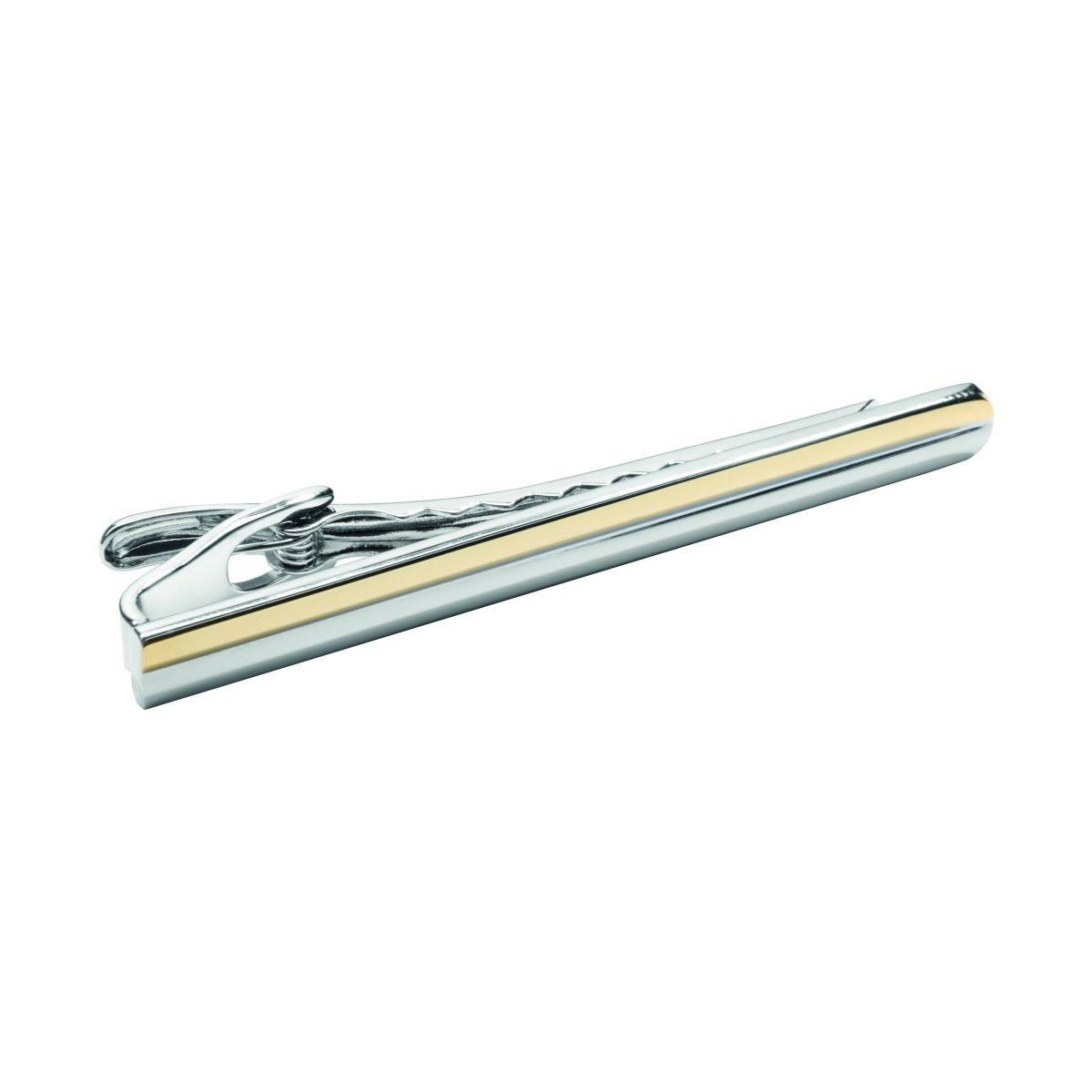 Pince à cravate rhodium et or