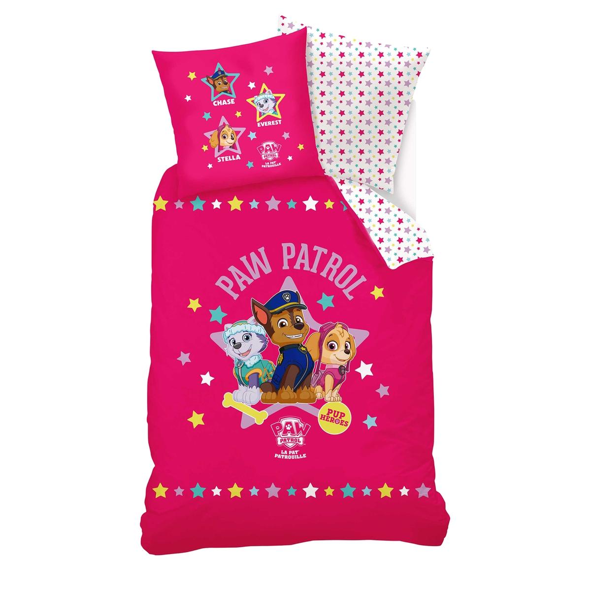 Белье постельное для девочек, с рисунком, 100% хлопок, Pat Patrouille Fille