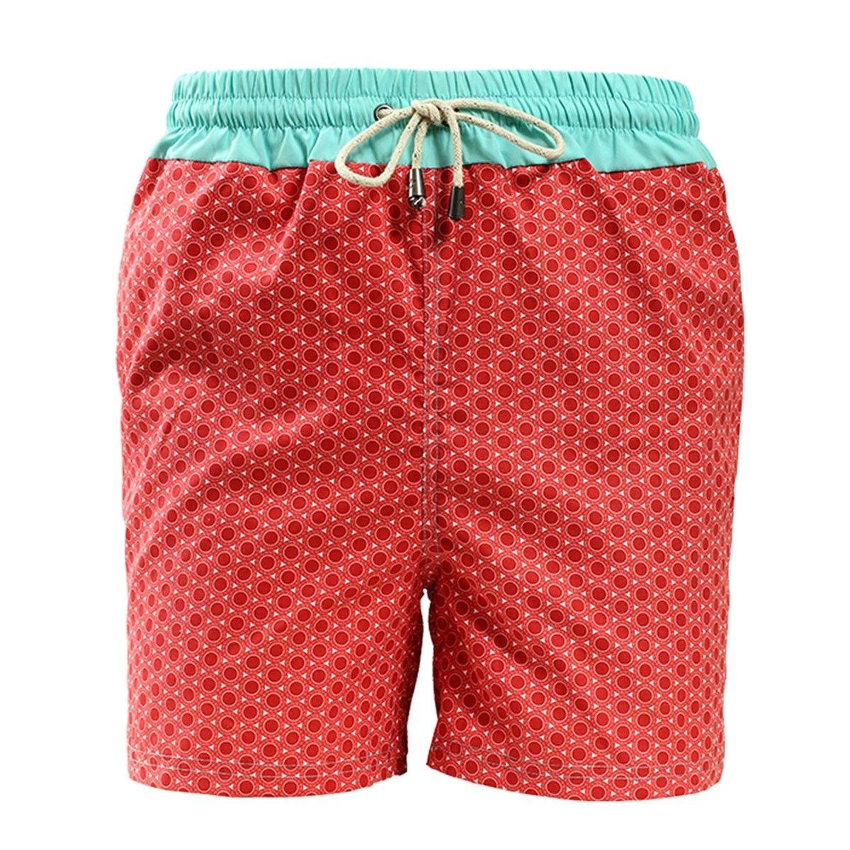 Short de bain imprimé rond rouge avec ceinture bleu