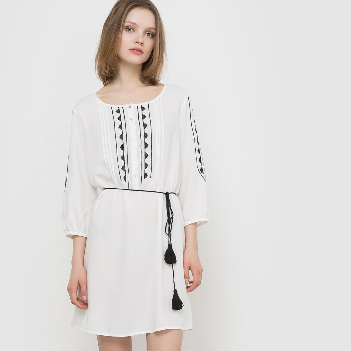 Платье с рукавами ?, с вышивкой, пояс с помпонами  B.YOUNG ELLA DRESSСостав и описание  :   Материал : 100% полиэстера.Марка : B.YOUN<br><br>Цвет: экрю<br>Размер: 40 (FR) - 46 (RUS).42 (FR) - 48 (RUS)