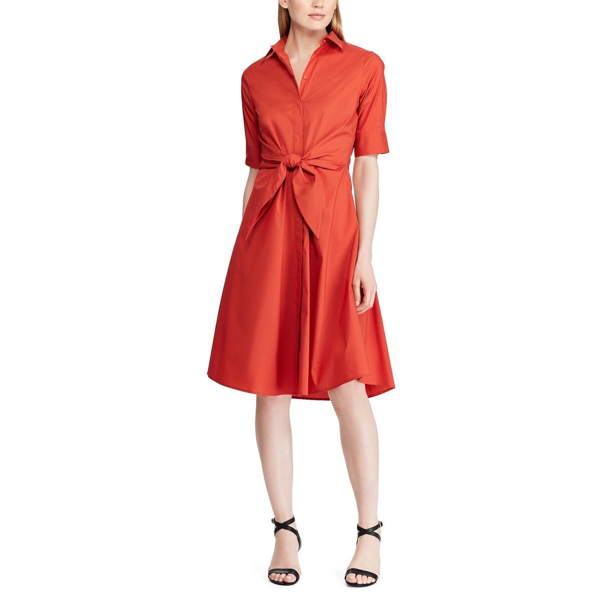 Платье-миди La Redoute Расклешенное с короткими рукавами 42 (FR) - 48 (RUS) красный платье la redoute расклешенное с короткими рукавами с гипюром 42 fr 48 rus черный