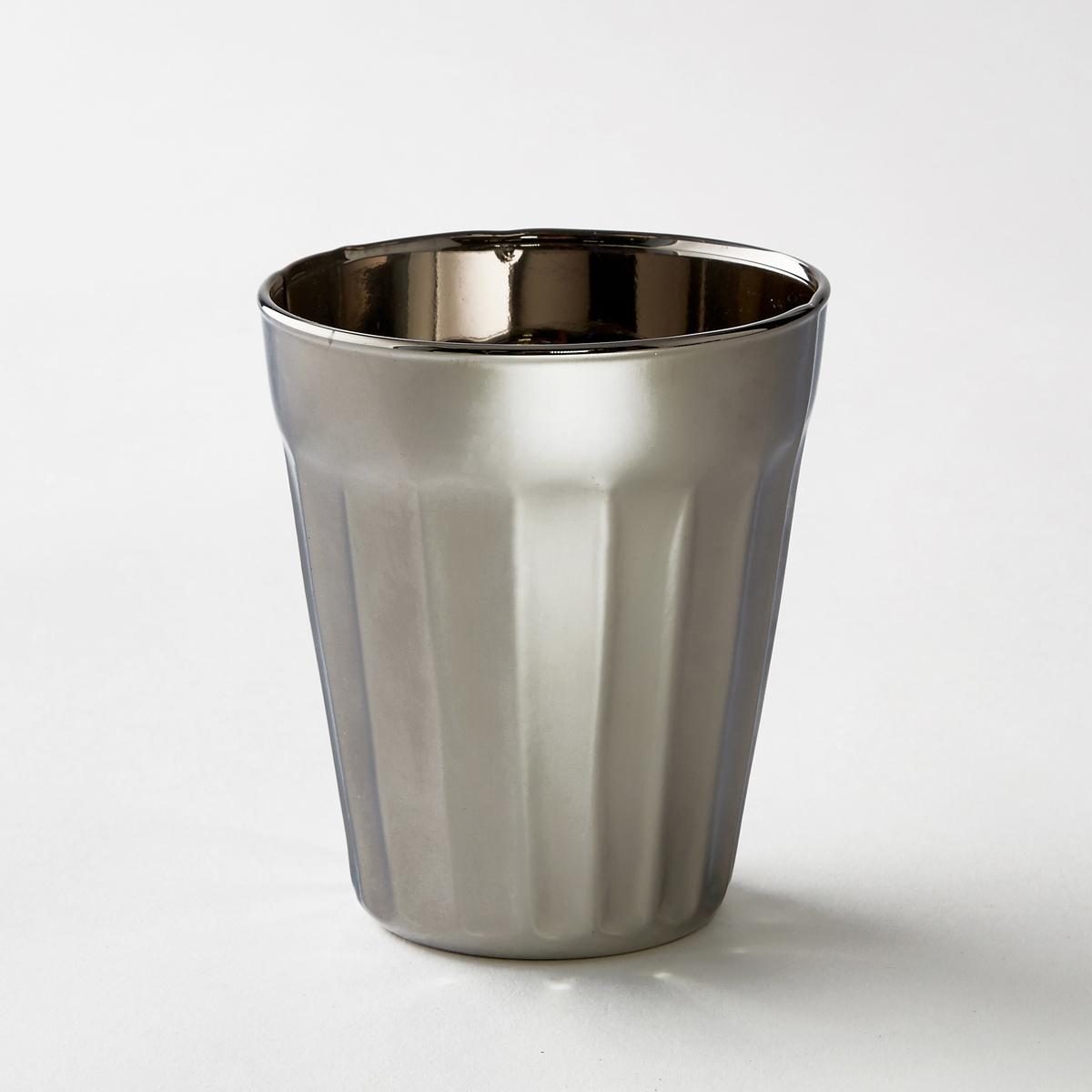 4 стакана серебристых маленькая модель Tagla4 стакана из стекла с гранями Tagla.  Размер . : диаметр 10 x высота 8,5 см.<br><br>Цвет: серый металлик