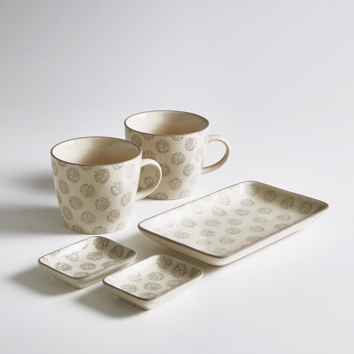 Комплект из 2 чашек, 2 блюдец и 1 подносаХарактеристики комплекта из 2 чашек:- 2 чашки из керамики (диаметр: 9,5 см x высота: 8 см).- 2 блюдца из керамики  (диаметр: 8,5 см x 6,5 см x 2 см).- 1 поднос из керамики (19 см x 12 см).- Можно использовать в микроволновой печи и мыть в посудомоечной машине.- Комплект из 2 чашек.<br><br>Цвет: набивной рисунок