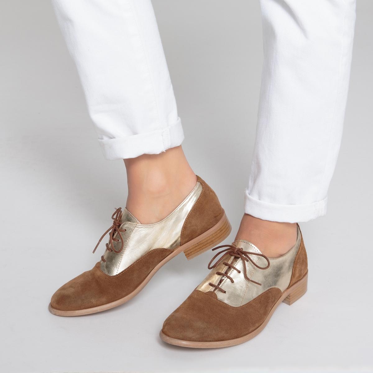 Ботинки-дерби кожаные из двух материалов