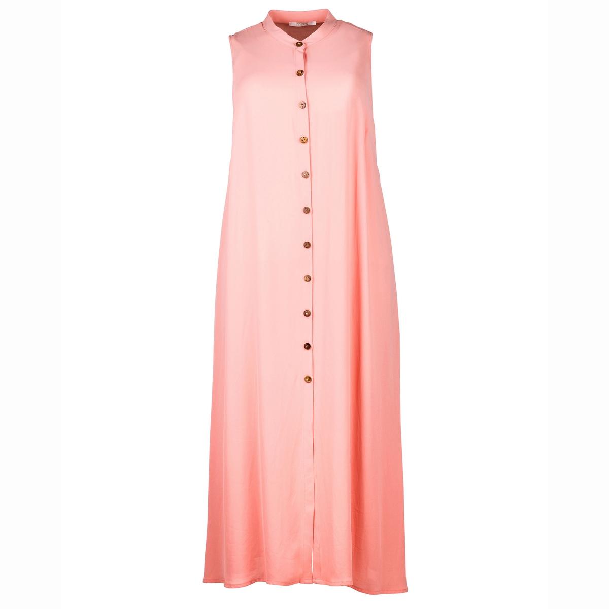 ПлатьеПлатье-рубашка MAT FASHION. Платье без рукавов из монохромной струящейся ткани. 100% полиэстера<br><br>Цвет: коралловый<br>Размер: 50/54.44/48