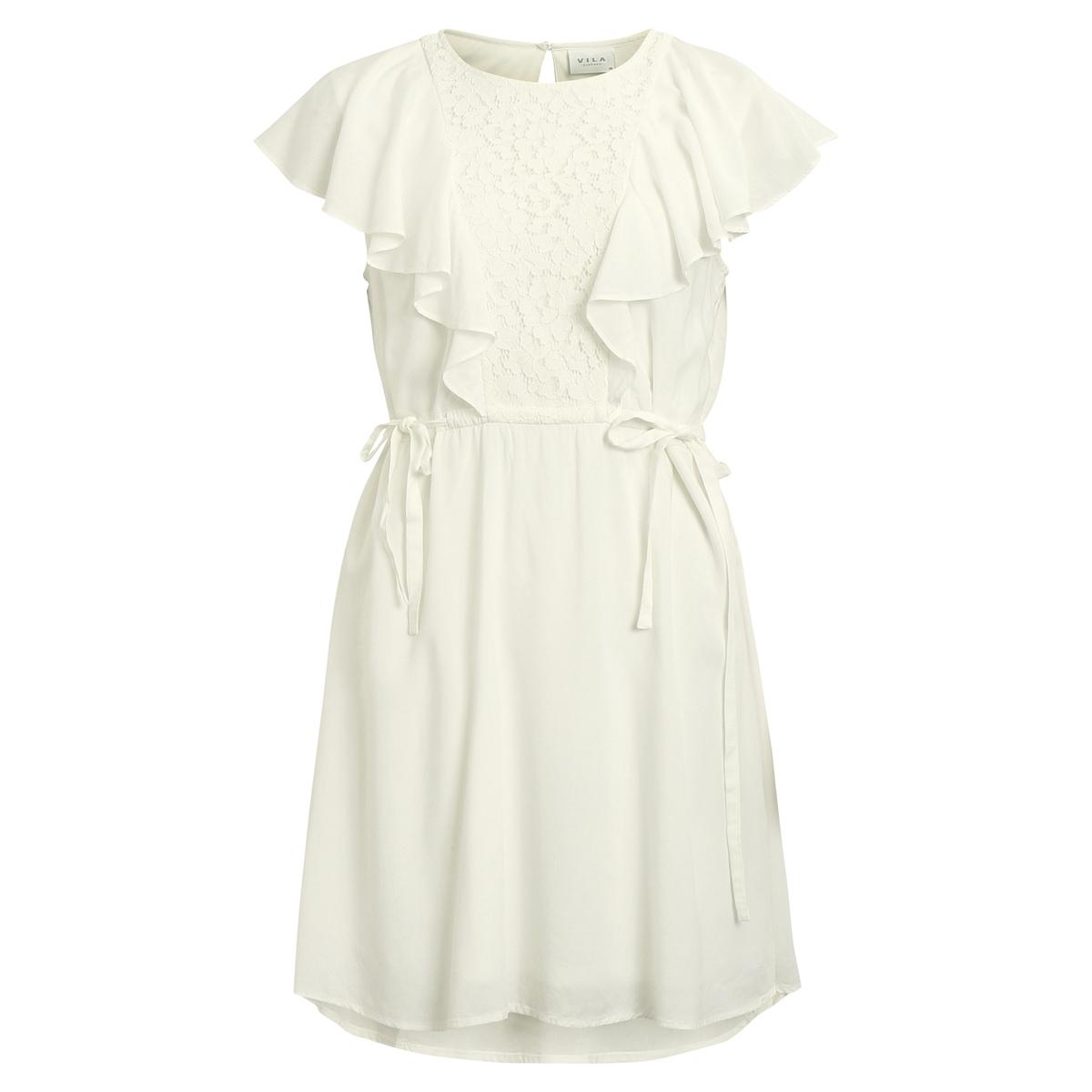 Платье средней длины с кружевной вставкой, без рукавов