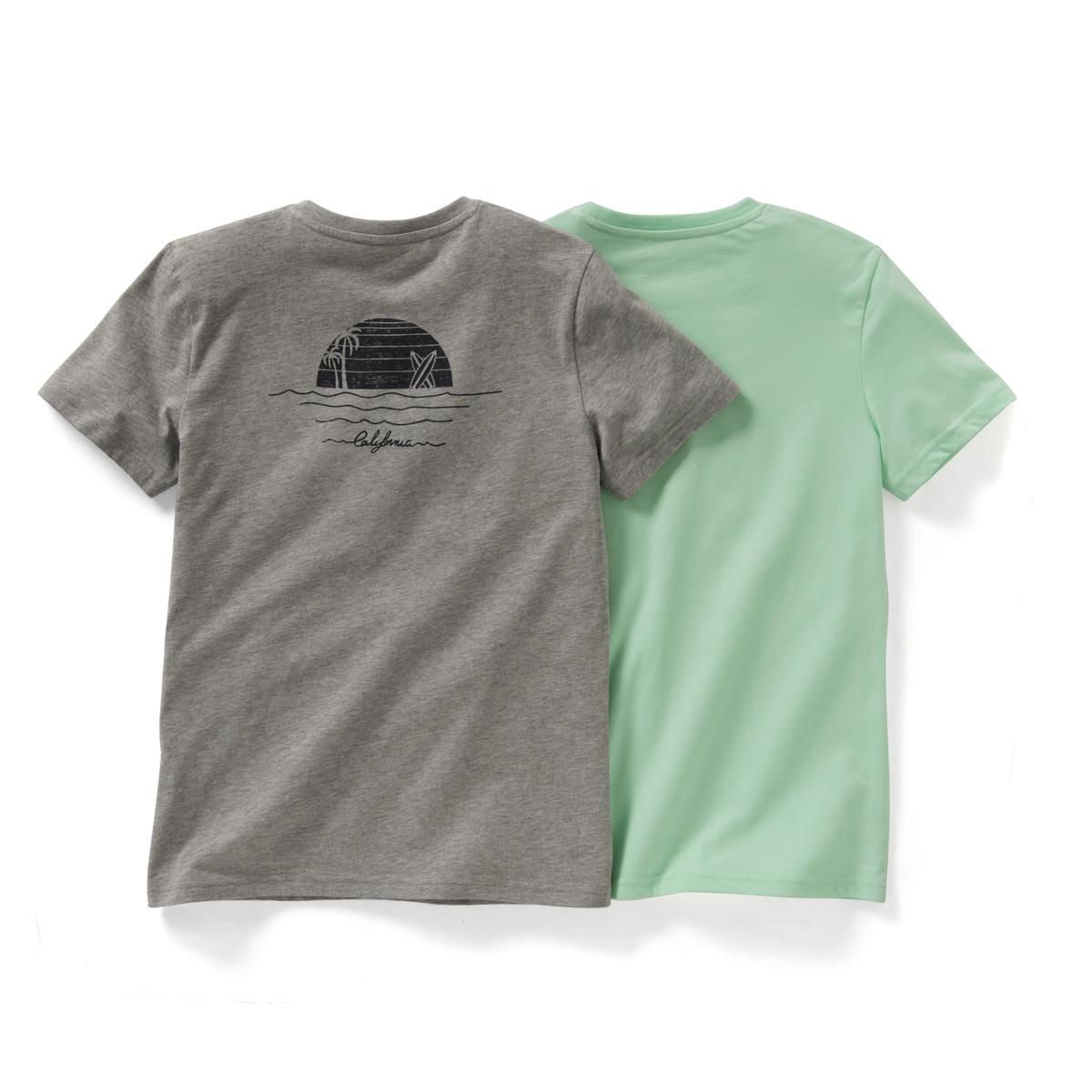 Комплект из 2 футболок с рисунком, для 10-16 летСостав и описание : Материал: для серого цвета - 90% хлопок, 10 вискоза для зеленого цвета - 65% полиэстер, 35% хлопок.Марка          R ?ditionУход :- Машинная стирка при 30°C с вещами схожих цветовСтирка и глажка с изнаночной стороныМашинная сушка в умеренном режимеГладить на низкой температуреСухая чистка запрещена<br><br>Цвет: Серый меланж + зеленый