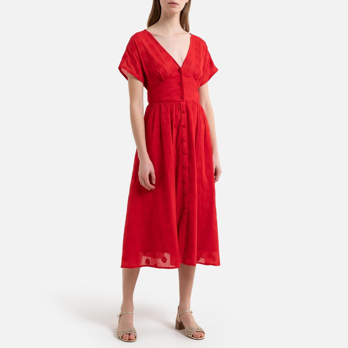 Платье La Redoute На пуговицах с вышивкой и короткими рукавами 40 (FR) - 46 (RUS) красный