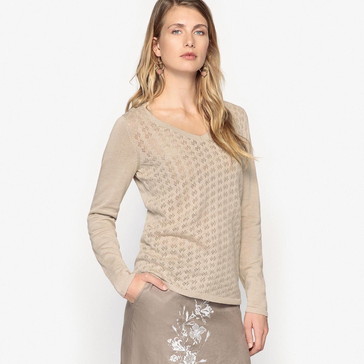 Пуловер с V-образным вырезом из льна и хлопкаОписание:Пуловер с вырезом в форме сердца. Из ажурного трикотажа спереди. Длинные рукава с неглубокой проймой. Отделка в рубчик. Разрезы внизу по бокам. Длина. 62 смДетали •  Длинные рукава •   V-образный вырез •  Тонкий трикотажСостав и уход •  45% хлопка, 55% льна •  Температура стирки 40° на деликатном режиме   •  Сухая чистка и отбеливатели запрещены •  Не использовать барабанную сушку • Средняя температура глажки  •  Длина  : 63,5 см<br><br>Цвет: бежевый,экрю