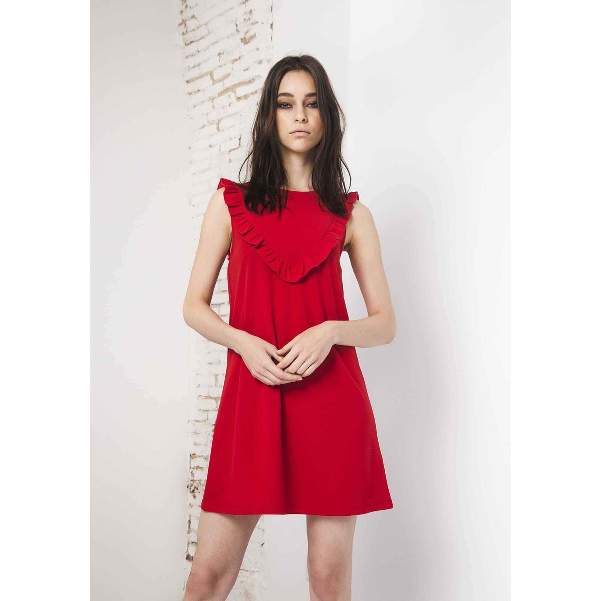Платье короткое однотонное, без рукавовОписание:Детали •  Форма : МИНИ •  Укороченная модель•  Без рукавов    •  Круглый вырезСостав и уход •  5% эластана, 95% полиэстера  •  Следуйте рекомендациям по уходу, указанным на этикетке изделия<br><br>Цвет: красный