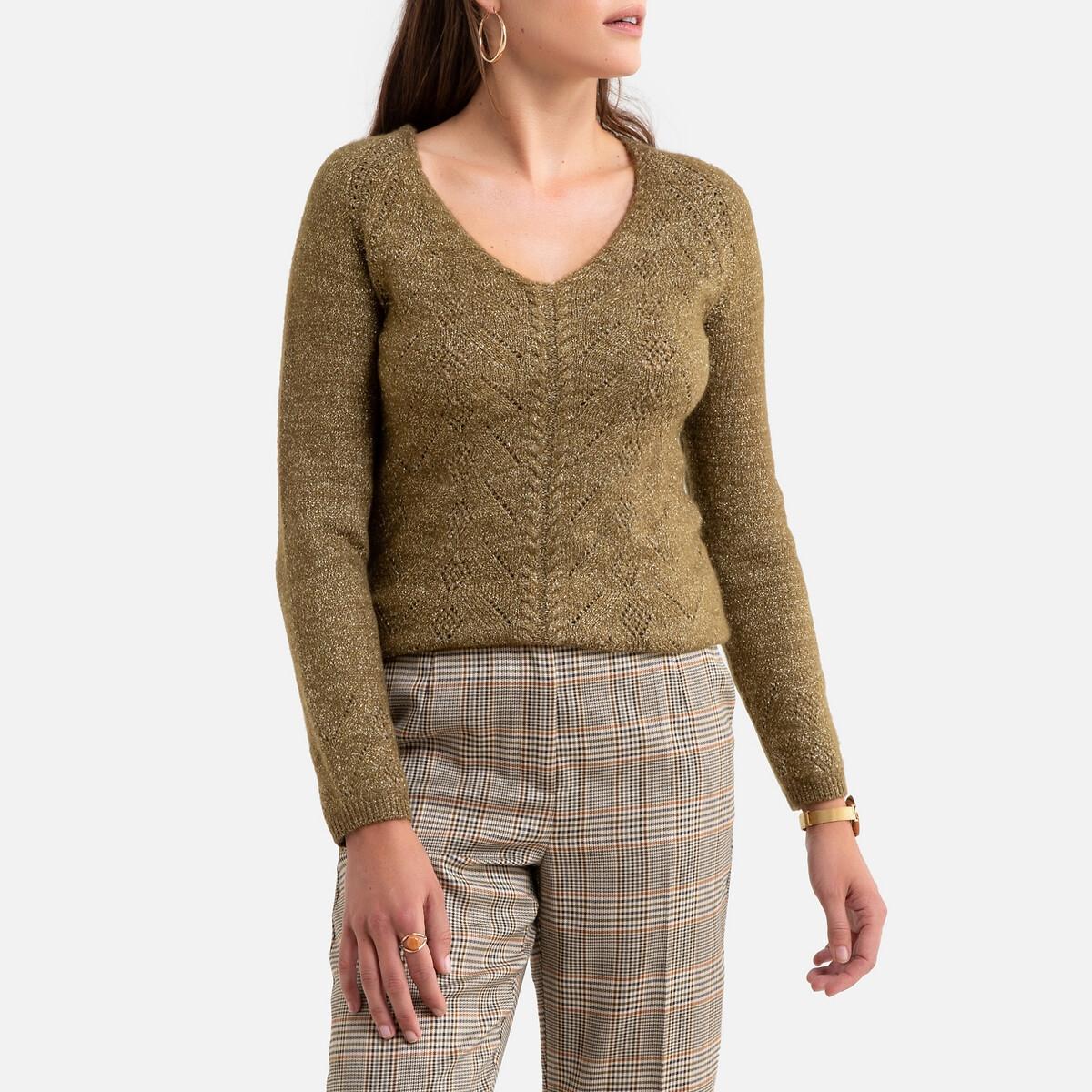 Фото - Пуловер La Redoute С V-образным вырезом из тонкого блестящего трикотажа 50/52 (FR) - 56/58 (RUS) зеленый пуловер la redoute с v образным вырезом из тонкого трикотажа florestine 2 m серый