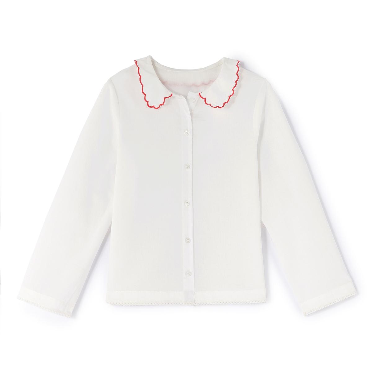 Блузка с закругленным отложным воротником, 3-12 лет
