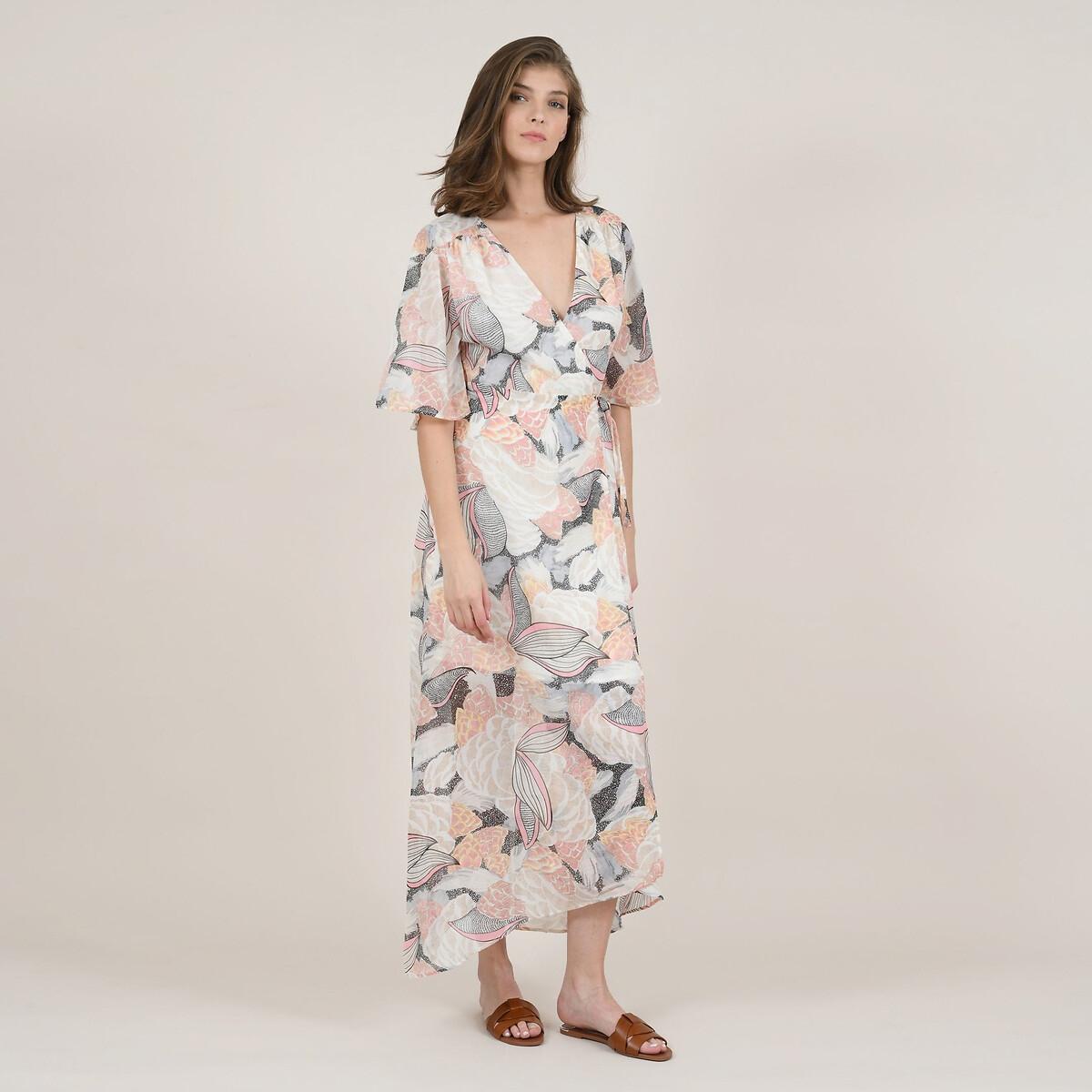 Платье La Redoute С запахом и короткими широкими рукавами M бежевый