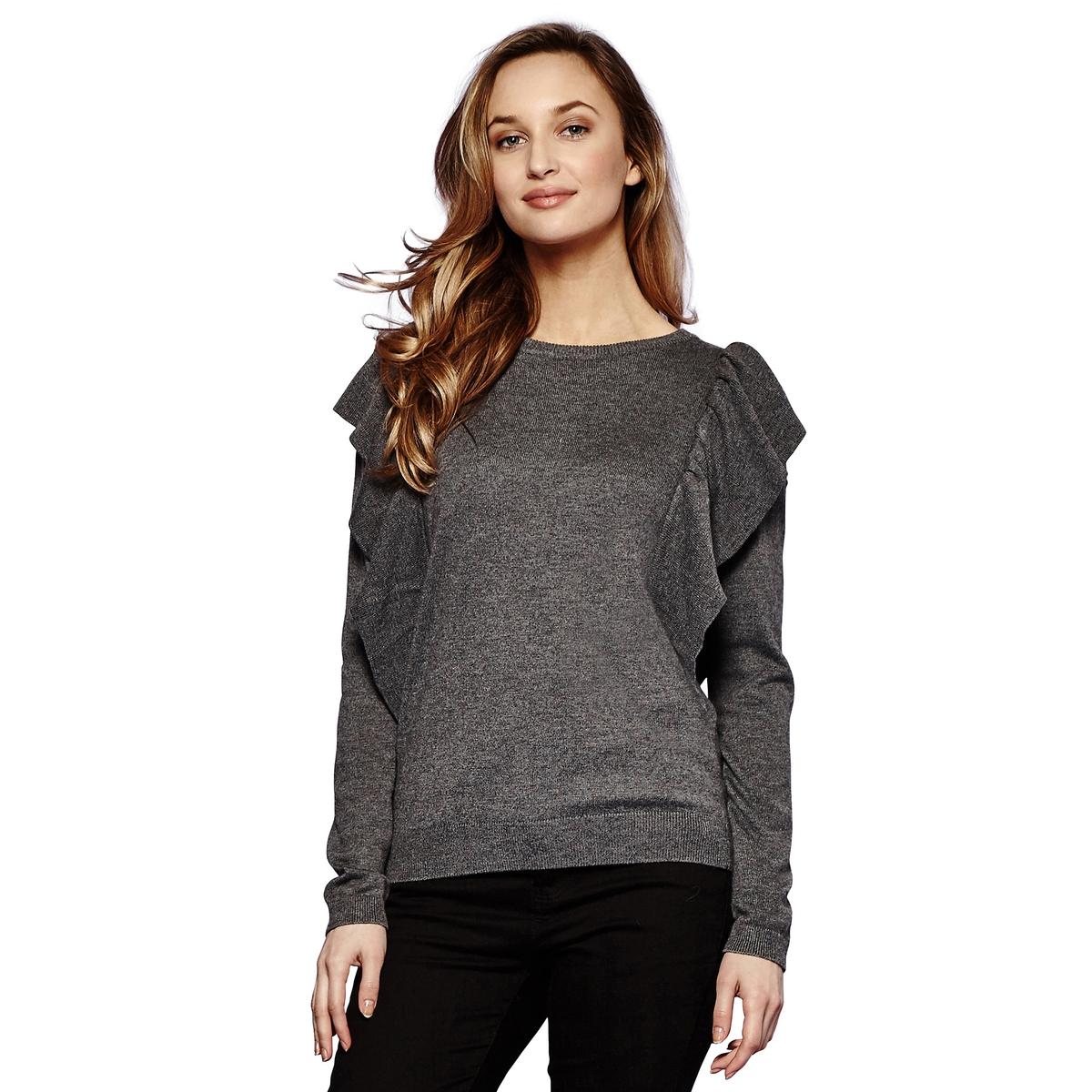 Sweter z okrągłym dekoltem z  dzianiny o cienkim splocie