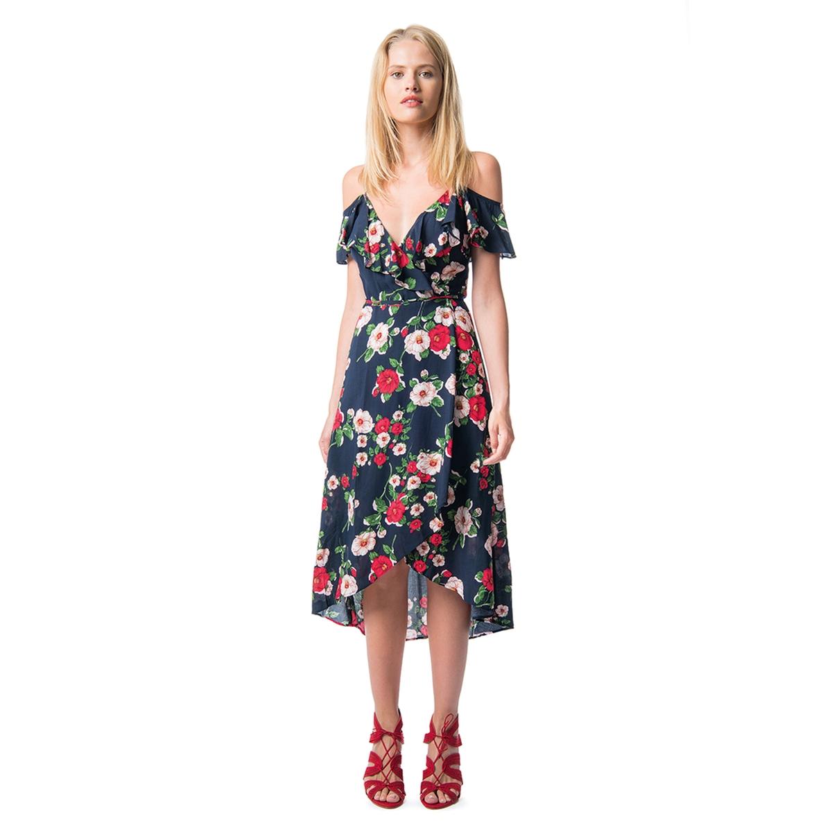 Платье расклешенное с цветочным рисунком, средней длины