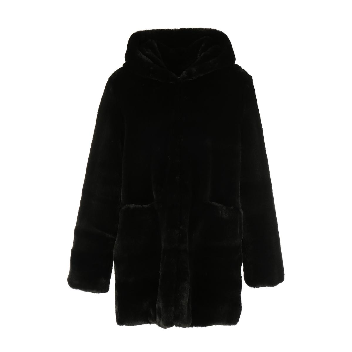Пальто с искусственным мехом средней длины
