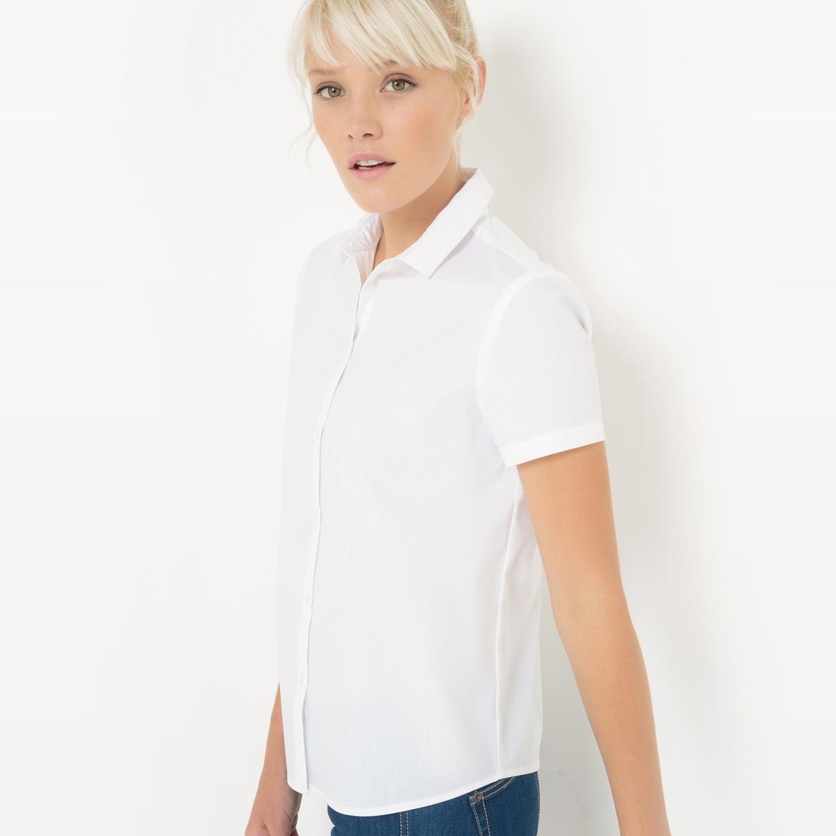 Рубашка из поплина с короткими рукавамиРубашка из поплина . Короткие рукава. Небольшой рубашечный воротник. Застежка на пуговицы. Слегка приталенный покрой. Слегка закругленный низ.  Состав и описаниеМатериалы : 69% хлопка, 28% полиамида,  3% эластанаДлина : 65 смМарка :      R ?ditionУходМашинная стирка при 30 °C Стирать с вещами схожих цветов Гладить при низкой температуре.<br><br>Цвет: белый,небесно-голубой,черный