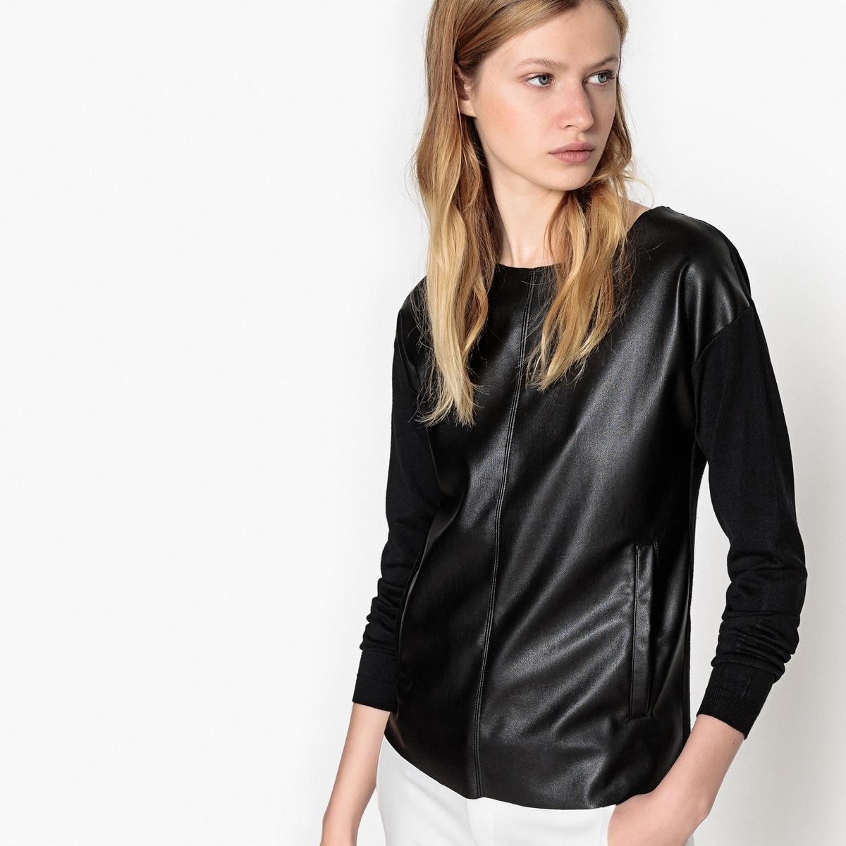 Пуловер La Redoute С круглым вырезом из тонкого трикотажа S черный цена