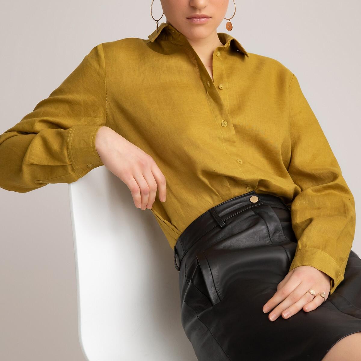Блузка LaRedoute Прямого покроя с длинными рукавами из льна 40 (FR) - 46 (RUS) зеленый блузка laredoute прямого покроя с бахромой l бежевый