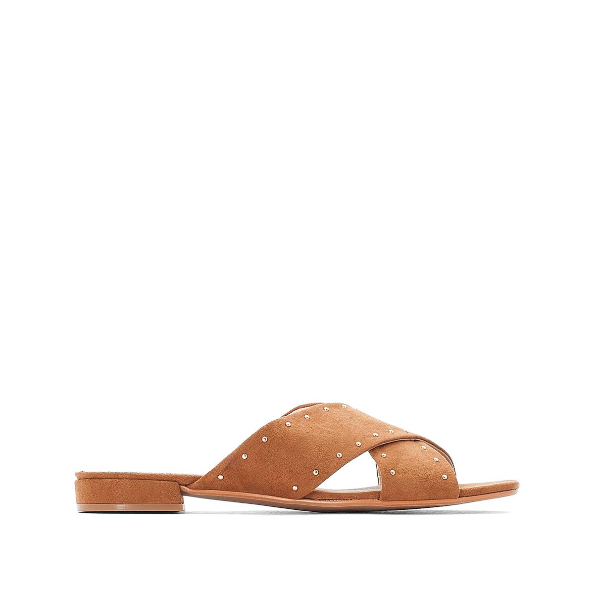 Туфли La Redoute Без задника с заклепками из синтетического материала на плоском каблуке 41 каштановый туфли la redoute на среднем каблуке с питоновым принтом 36 каштановый