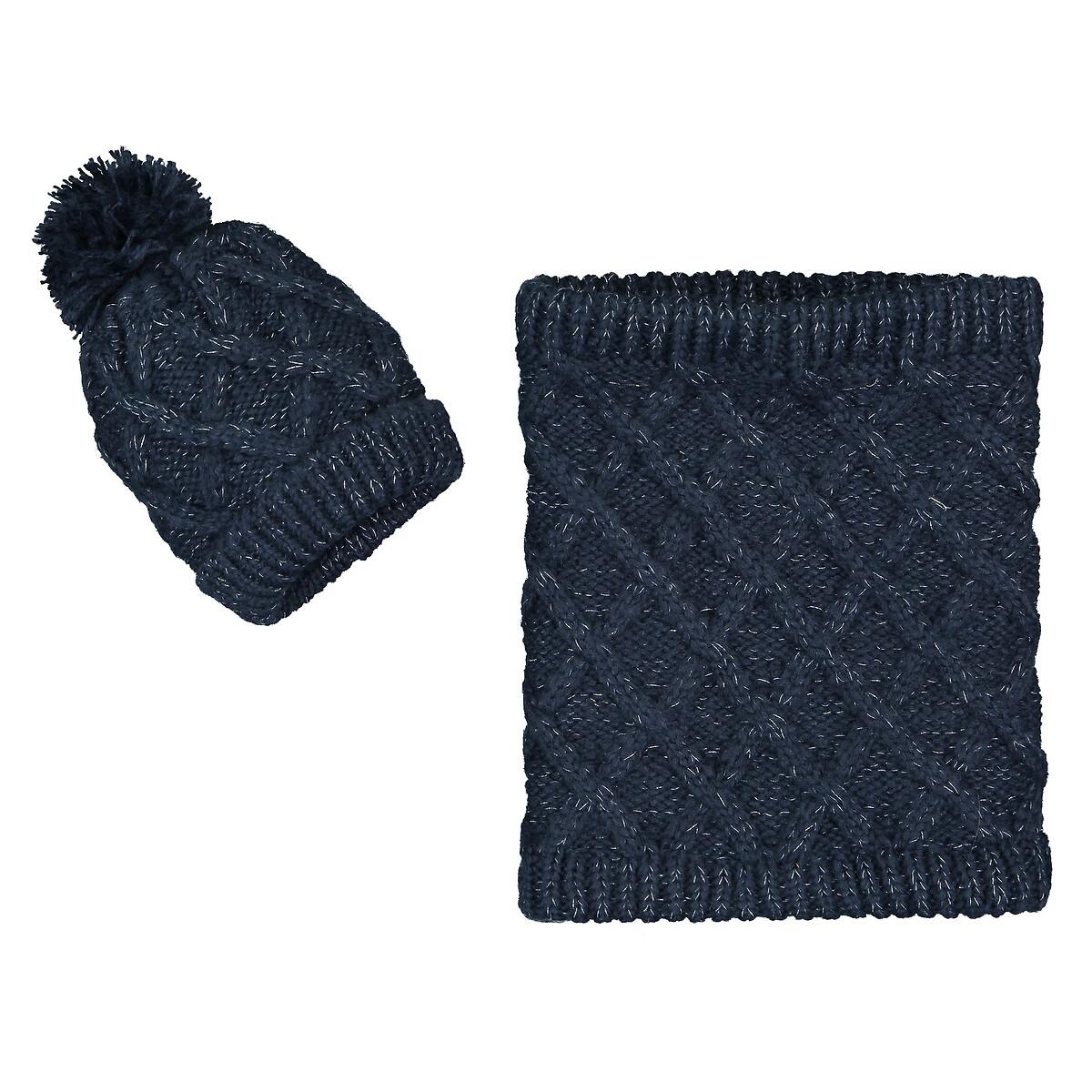 Комплект из шапочки и снуда LaRedoute La Redoute 54 см синий