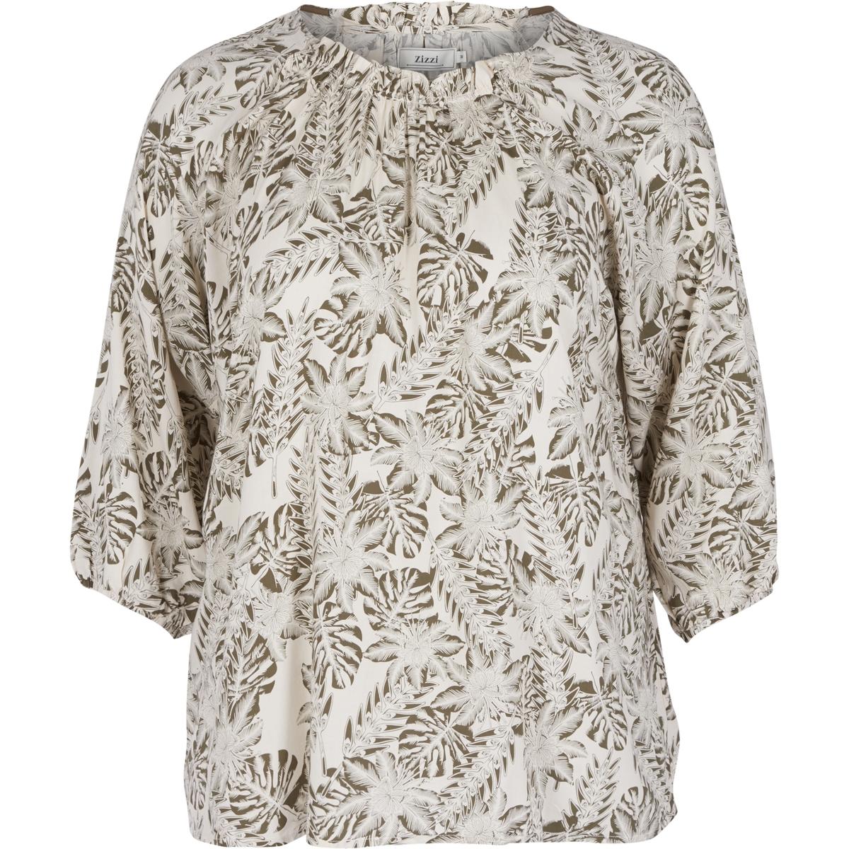 БлузкаСимпатичная женственная блузка со сплошным принтом. Круглый вырез и оригинальные рукава 3/4. Очень удобная в носке . Изящные вставки на уровне шеи и на рукавах с плиссированным эффектом .<br><br>Цвет: рисунок/зеленый<br>Размер: 46/48 (FR) - 52/54 (RUS)
