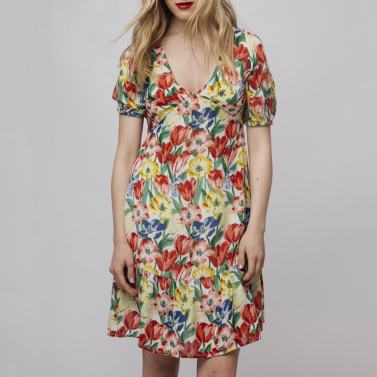 Платье La Redoute Короткое с цветочным рисунком и напускными рукавами M другие цены