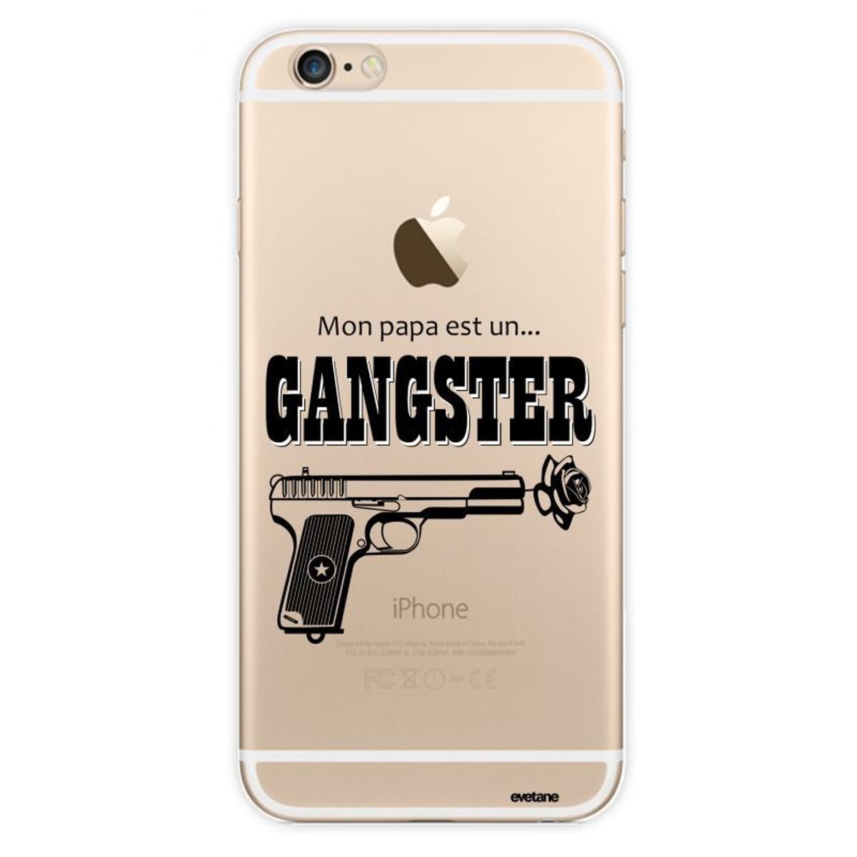 Coque iPhone 6 Plus / 6S Plus rigide transparente, Mon Papa est un Gang, Evetane®