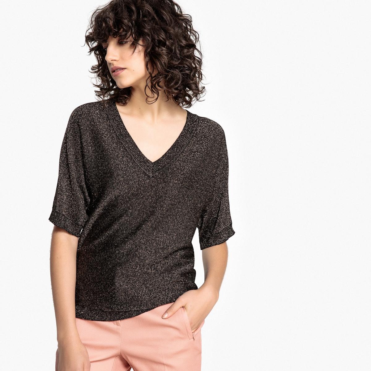 Пуловер из тонкого трикотажа, блестящий