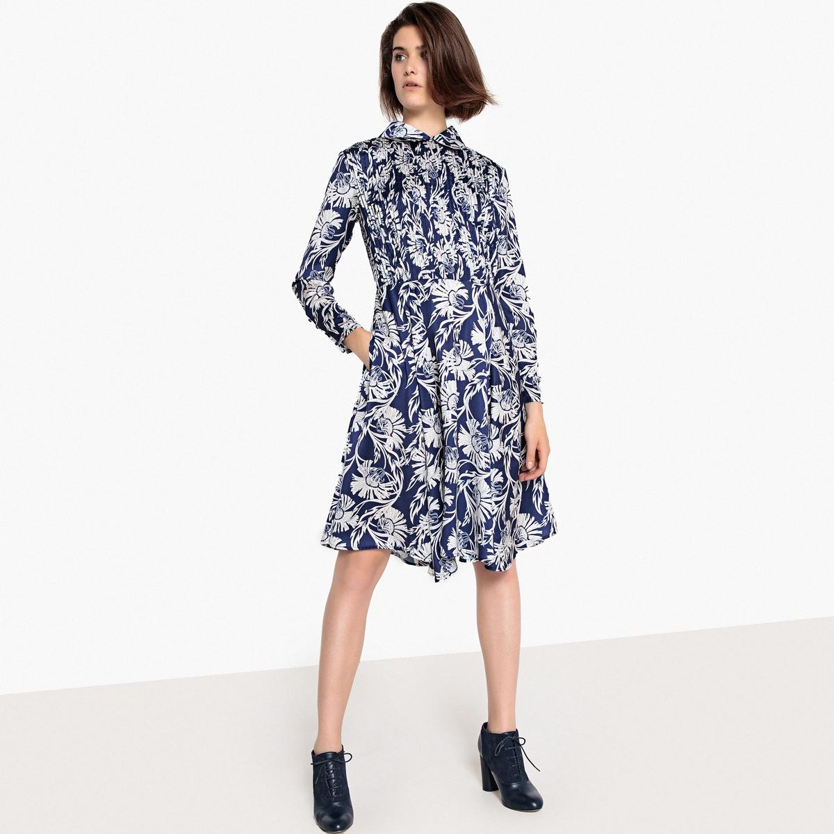 Платье с рубашечным воротником, цветочным рисунком и длинными рукавами