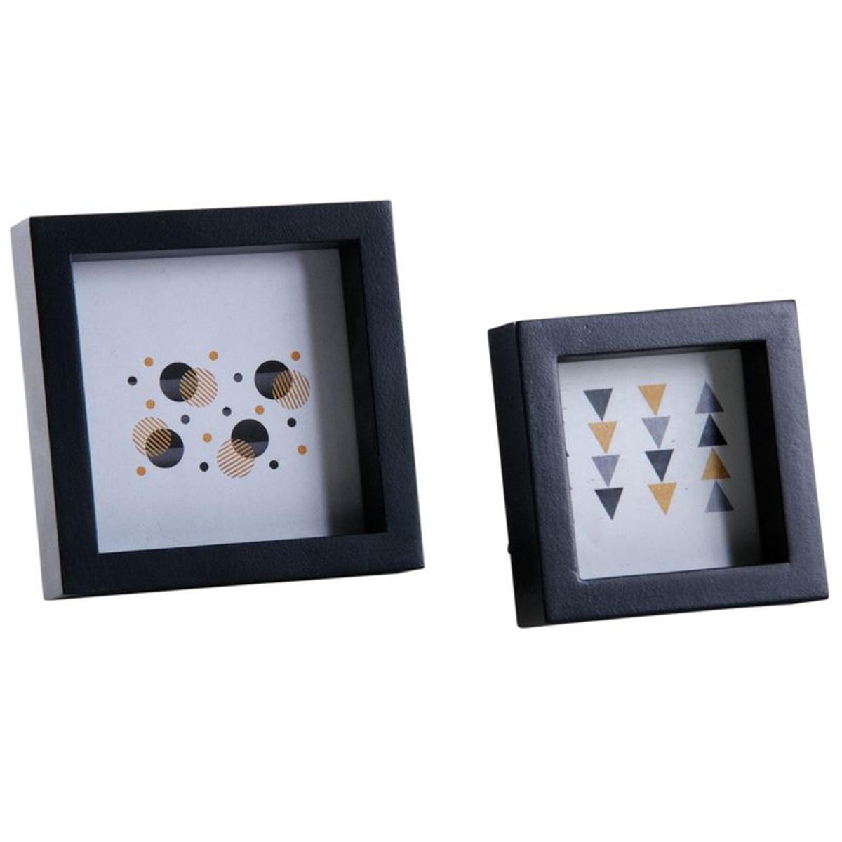 Cadre photo carré en bois noir (Lot de 2)