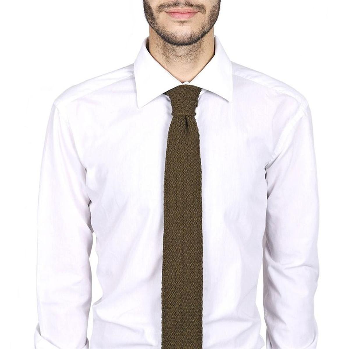 Cravate tricot laine et alpaga kaki - Fabriqué en France