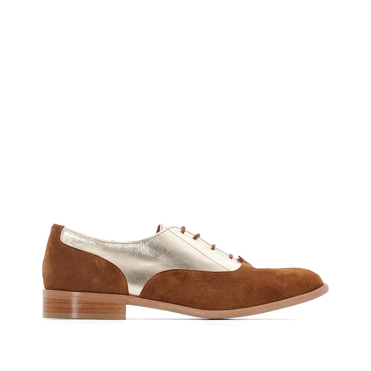 Ботинки-дерби кожаные из двух материалов ботинки дерби