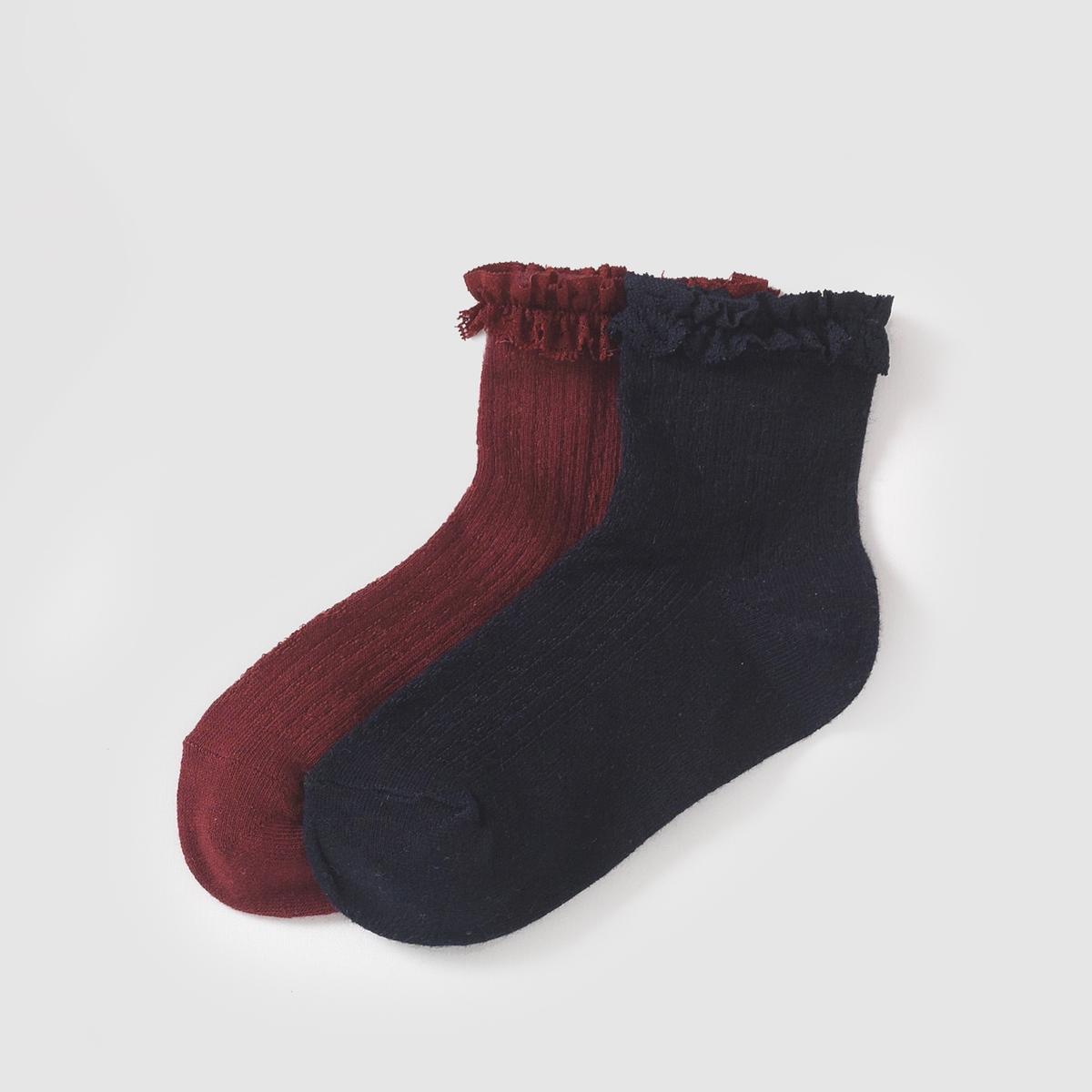 2 пары носков с воланамиОригинальные носки с воланами из кружева на щиколотке  . 2 пары в комплекте.Состав и описание : Материал      75% хлопка, 22% полиамида, 3% эластана Марка      abcdRУход :Ручная стирка.Машинная сушка запрещена.Не гладить.<br><br>Цвет: синий+фиолетовый<br>Размер: 35/38