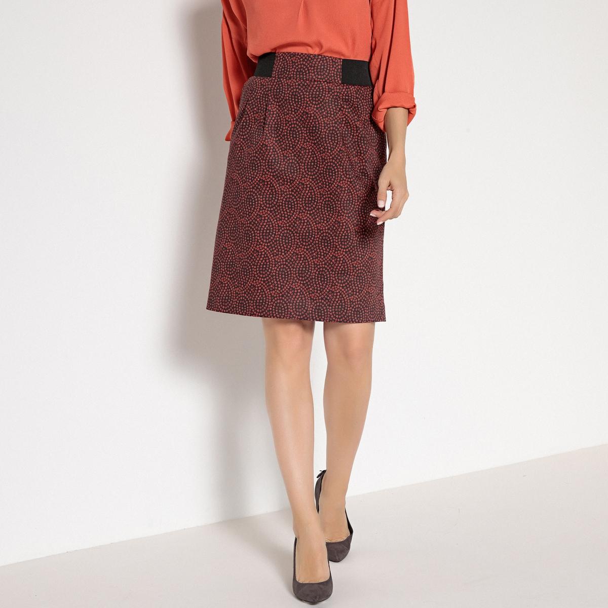 Imagen secundaria de producto de Falda recta estampada de satén de algodón stretch - Anne weyburn