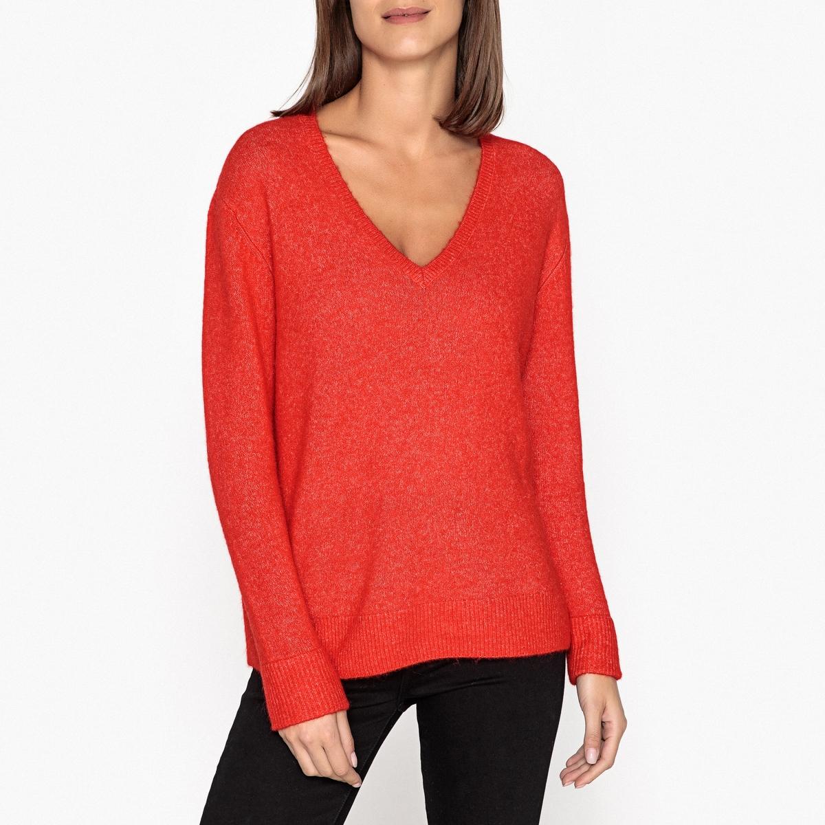 Пуловер с V-образным вырезом из тонкого трикотажа пуловер lueur