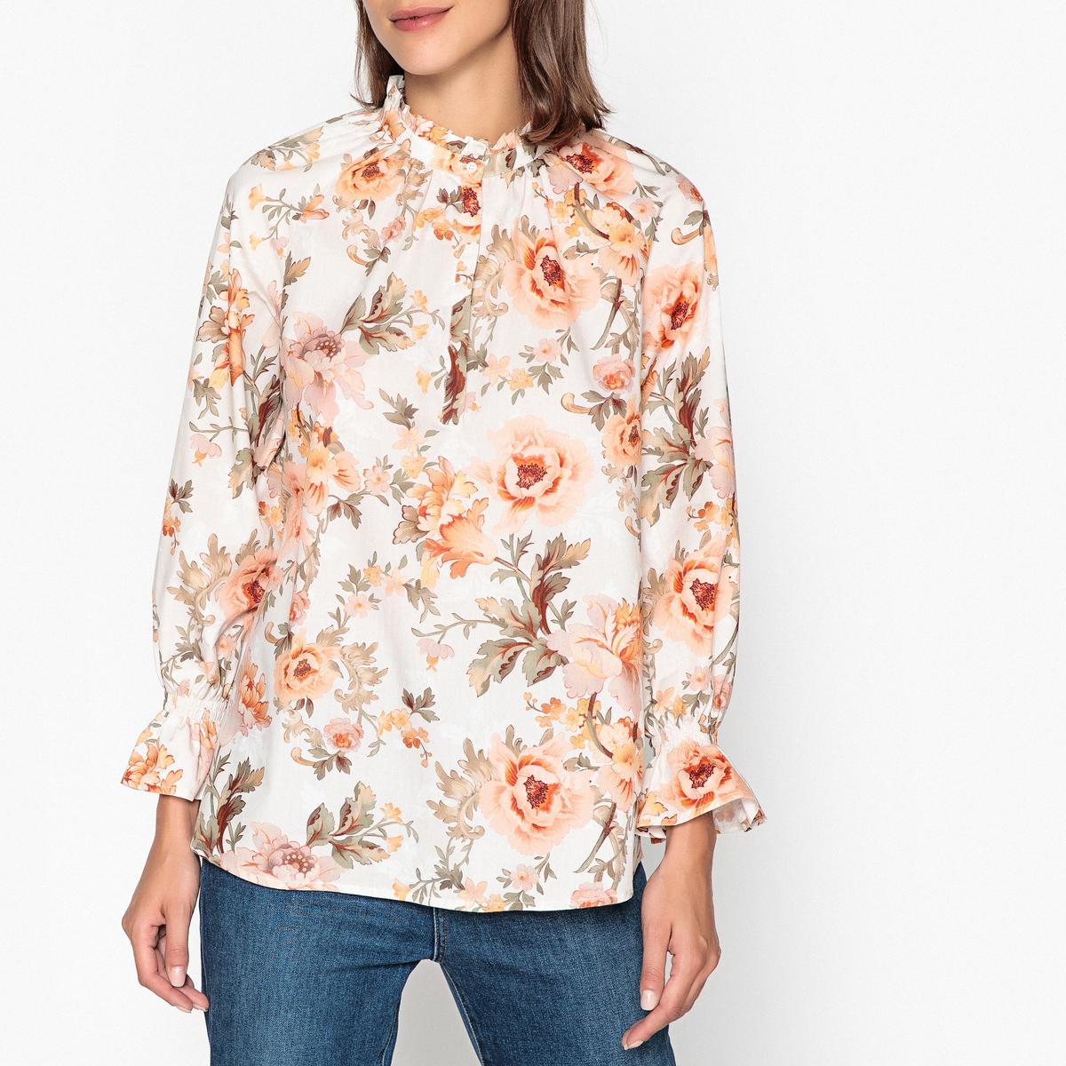 Блузка со стоячим воротником с цветочным принтом с длинными рукавами
