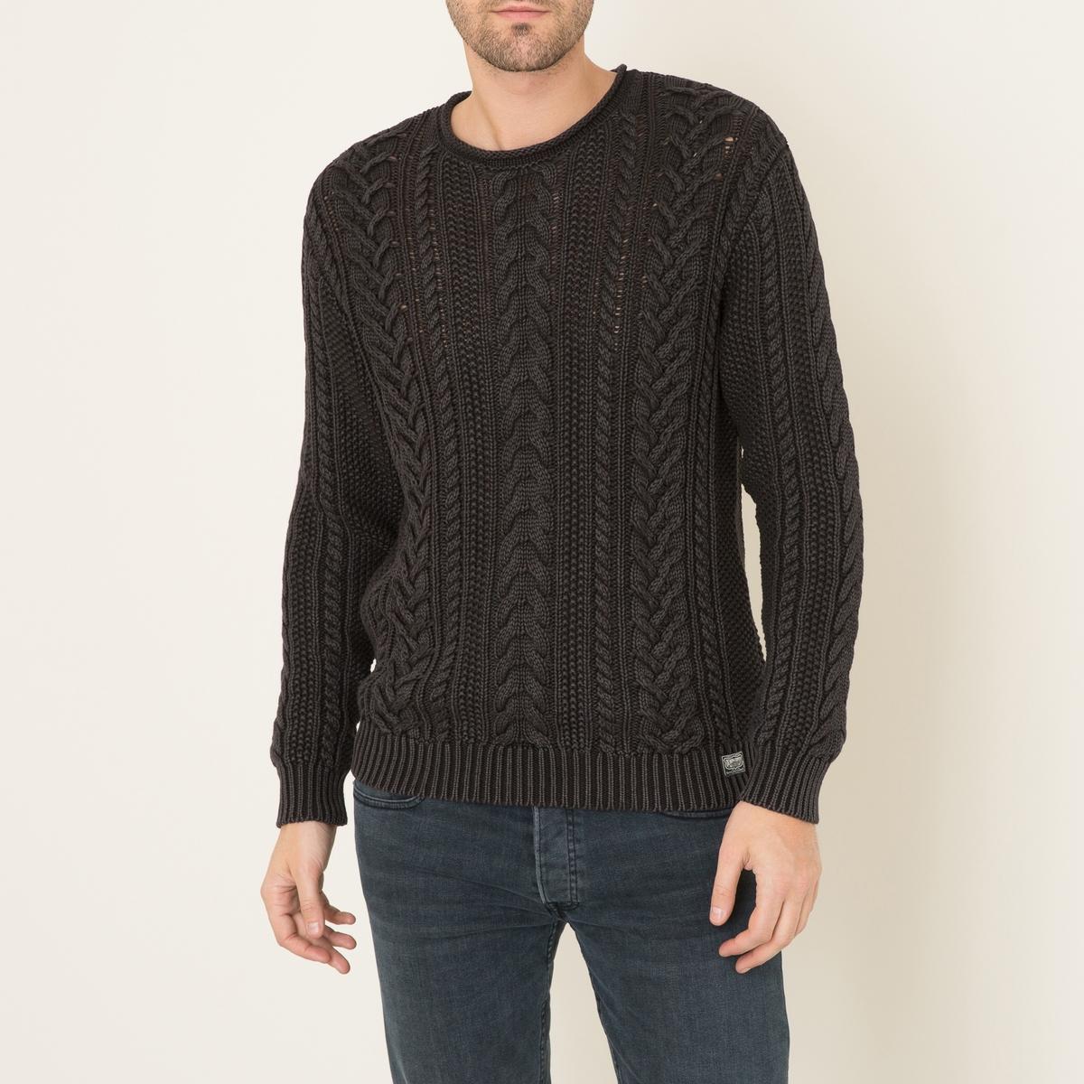 Пуловер с узором косыСостав и описание      Материал : 100% хлопок     Марка : Denim and Supply Ralph Lauren<br><br>Цвет: черный<br>Размер: L