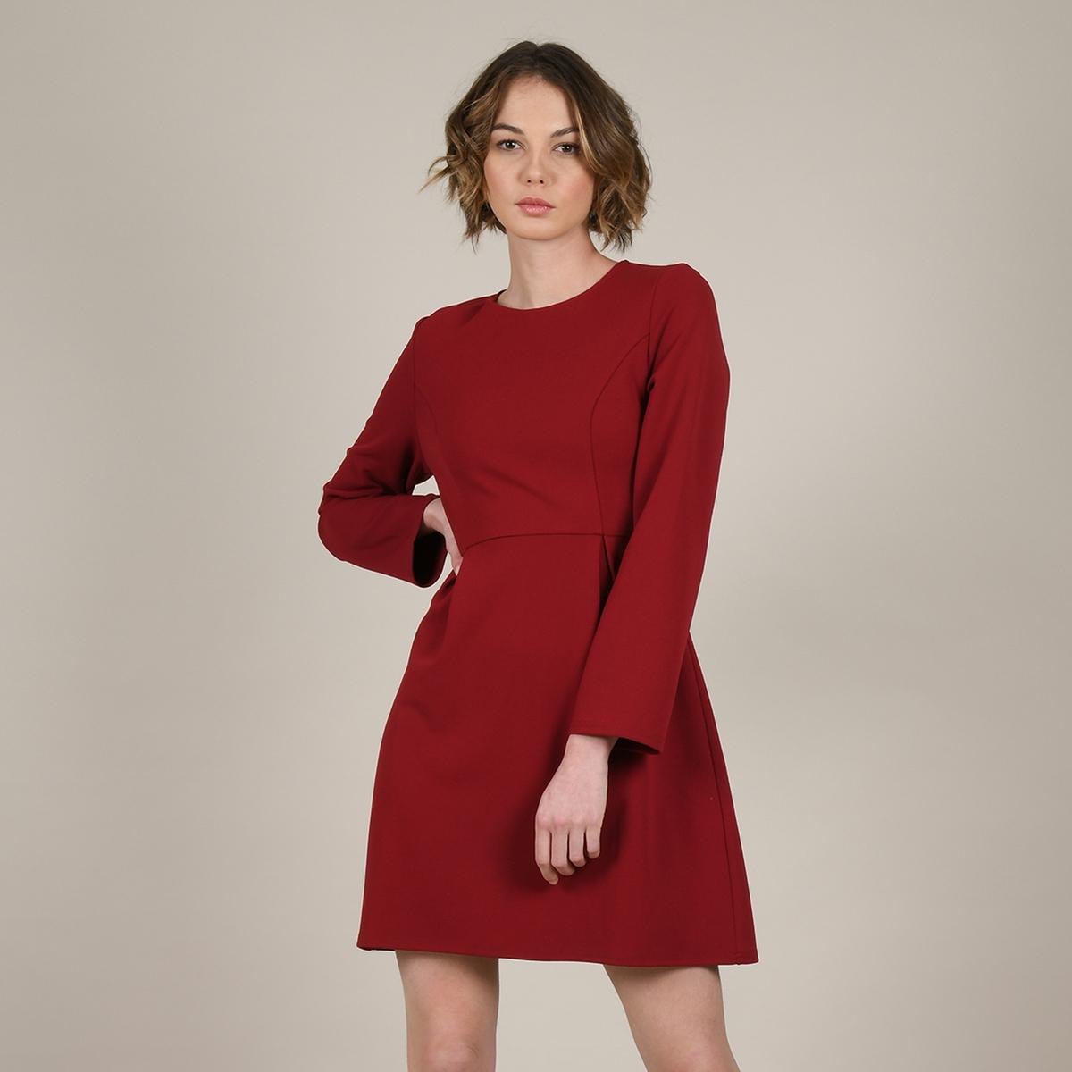 цена Платье La Redoute Короткое расклешенное с длинными широкими рукавами M красный онлайн в 2017 году