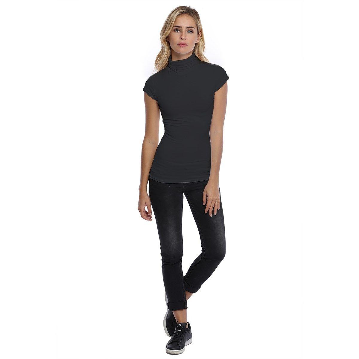 T-shirt col roulé manches courtes capes en modal CINDY02
