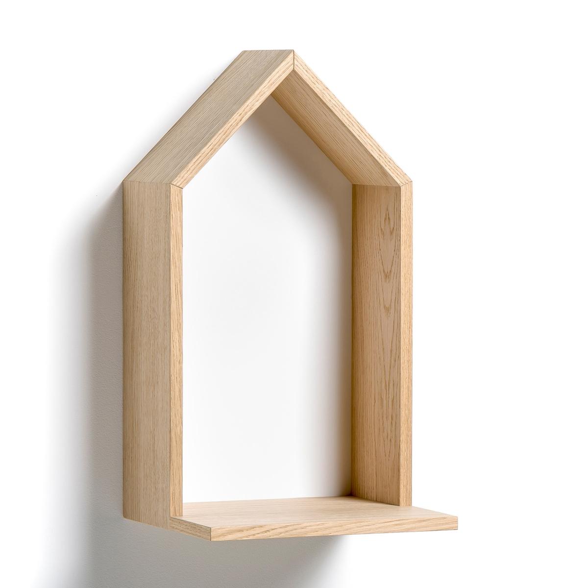 Полка Bosaka, средняя модель, В.45 смПолка в форме домика, навесная . Характеристики :- Из МДФ, покрытого дубовым шпоном, боковые стороны из ДСП, покрытой дубовым шпоном, дно из окрашенного МДФ. - 2 пластины для крепления на стену (саморезы и дюбели продаются отдельно). Размеры  :-  Ш.25 x В.45 x Г.22 см.<br><br>Цвет: белый,серый