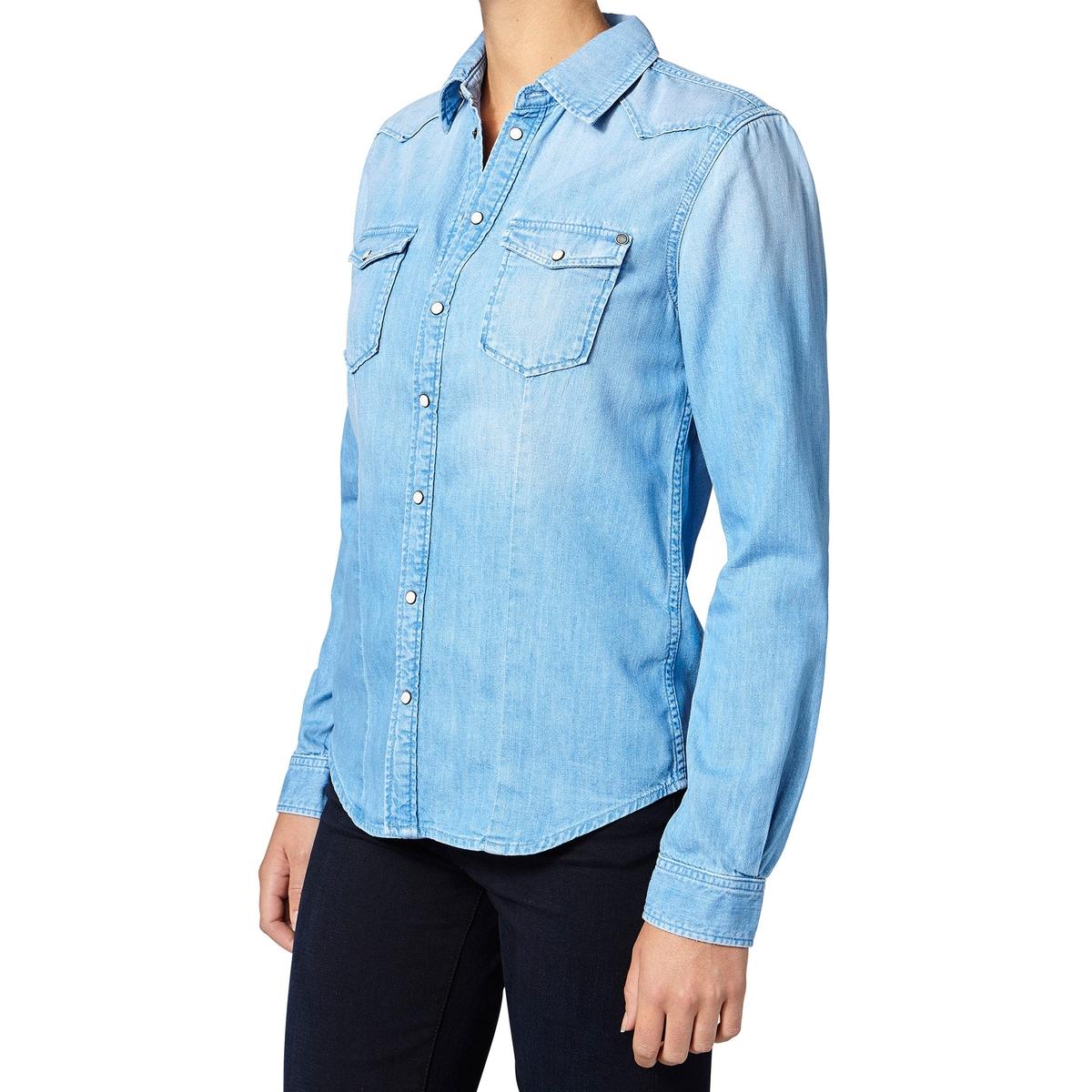 РубашкаДетали •  Длинные рукава  •  Прямой покрой  •  Воротник-поло, рубашечный Состав и уход •  69% хлопка, 31% лиоцелла •  Следуйте советам по уходу, указанным на этикетке<br><br>Цвет: голубой<br>Размер: XL