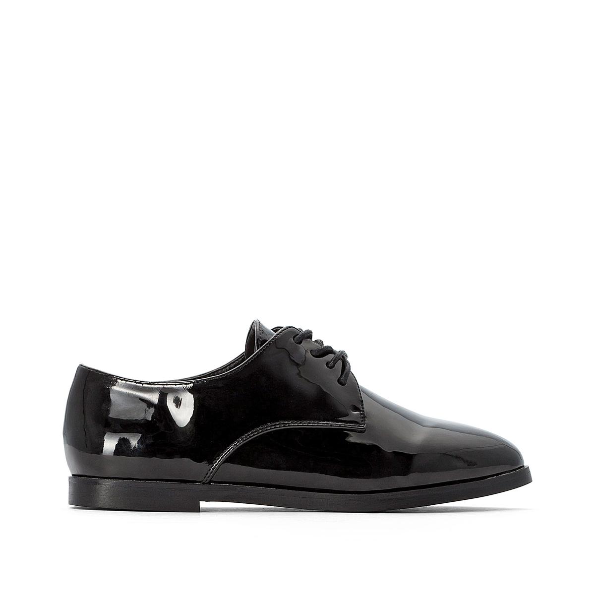 Ботинки-оксфорды La Redoute Лакированные на шнуровке 36 черный