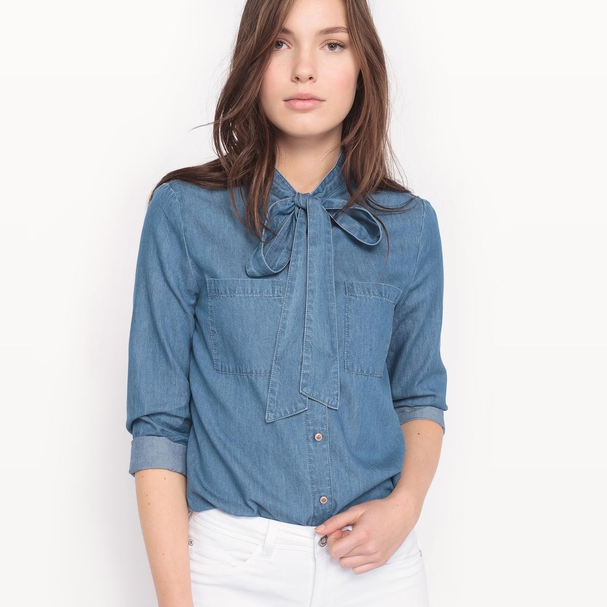 Рубашка джинсовая с длинными рукавамиДетали   •  Длинные рукава  •  Прямой покрой  •  Круглый вырез Состав и уход  •  100% хлопок • Просьба следовать советам по уходу, указанным на этикетке изделия<br><br>Цвет: синий потертый<br>Размер: 34 (FR) - 40 (RUS)