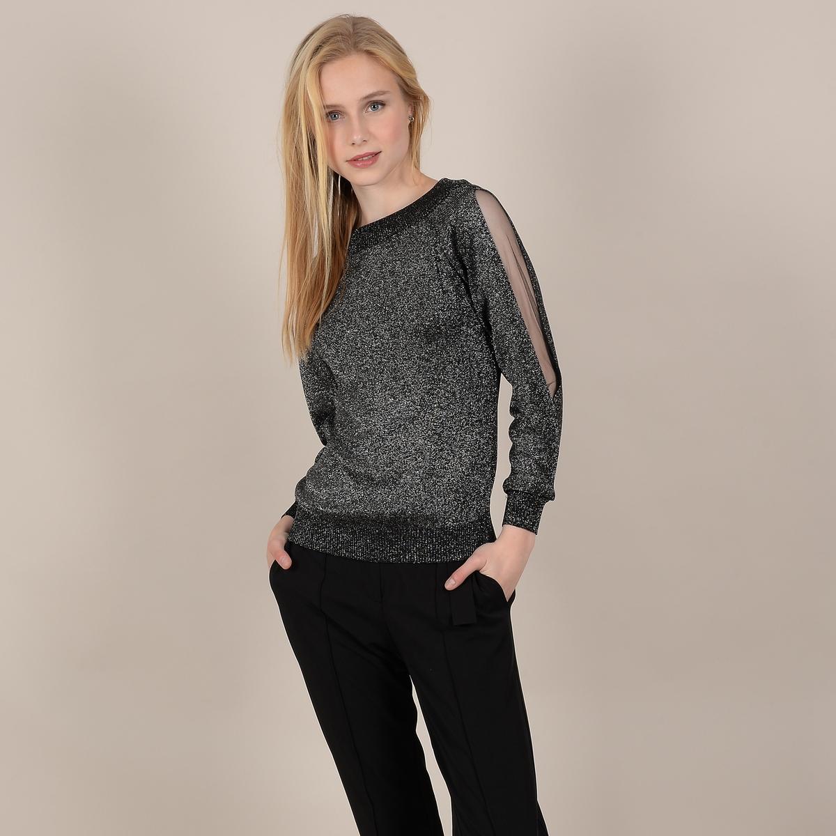 цена Пуловер La Redoute Из тонкого блестящего трикотажа с оригинальными длинными рукавами M/L черный онлайн в 2017 году