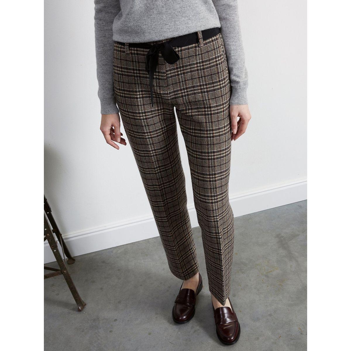 Pantalon carotte femme en lainage