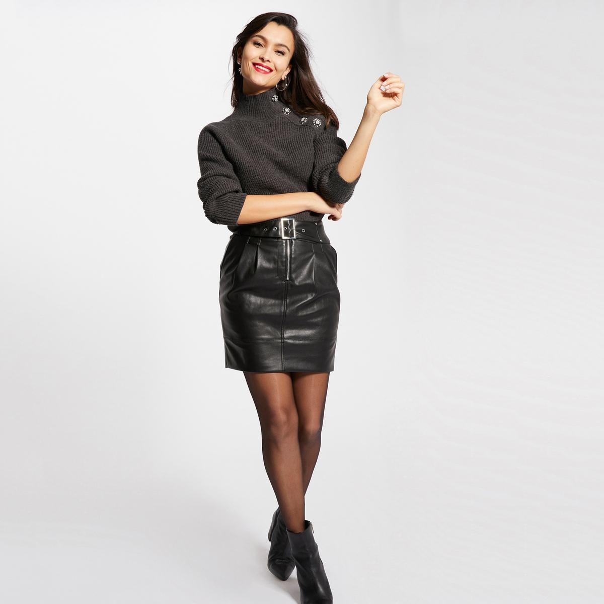 Юбка La Redoute Короткая из искусственной кожи с поясом 40 (FR) - 46 (RUS) черный платье la redoute радужное estelle 36 fr 42 rus черный