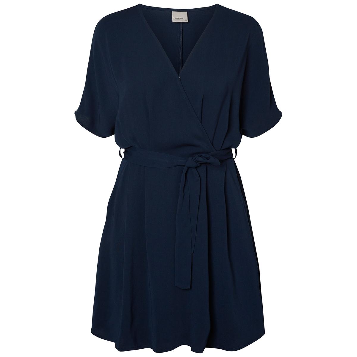 Платье короткое с короткими рукавамиОписание •  Форма : расклешенная •  короткое  •  Короткие рукава    •  Круглый вырезСостав и уход •  100% полиэстер  •  Следуйте рекомендациям по уходу, указанным на этикетке изделия<br><br>Цвет: хаки<br>Размер: XL