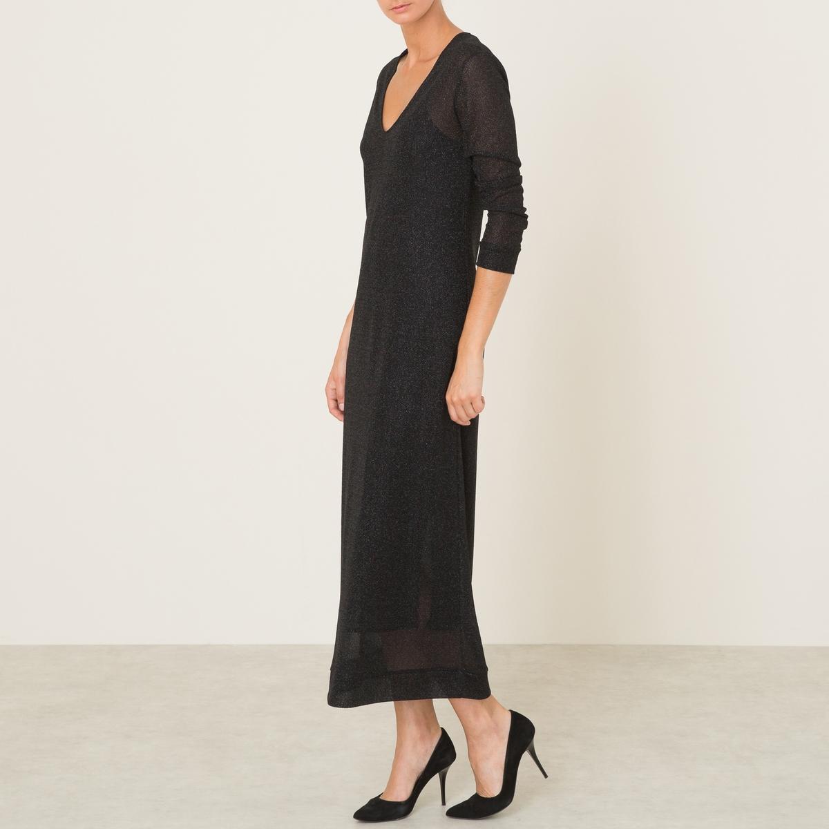 Платье длинное MABONДлинное платье - модель MABON, из люрекса. V-образный вырез. Длинные рукава. С подкладкой и регулируемыми бретелями.Состав и описание :Материал : 58% нейлона, 42% полиэстераПодкладка    : 100% вискозаМарка : MOMONI<br><br>Цвет: черный<br>Размер: S.XS