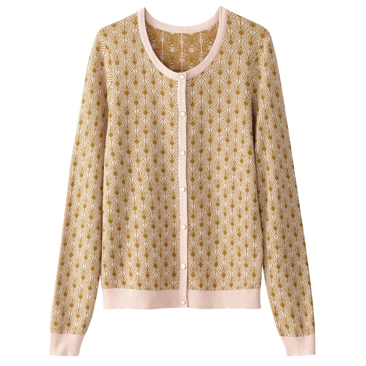 Żakardowy sweter rozpinany z okrągłym dekoltem